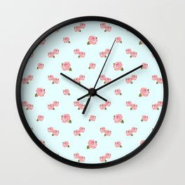 Pink Roses Repeat Pattern on Lt Blue Wall Clock