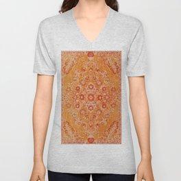 Orange Boho Oriental Vintage Traditional Moroccan Carpet style Design Unisex V-Neck