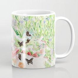 White Cat in a Garden Coffee Mug