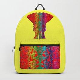 Rainbow Red Elephant -Yellow Bkg Backpack
