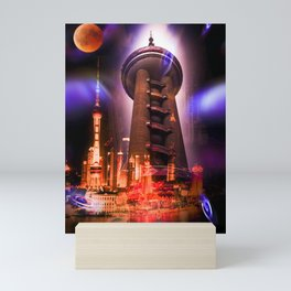 Full moon - Fascination Blood moon over Shanghai Mini Art Print