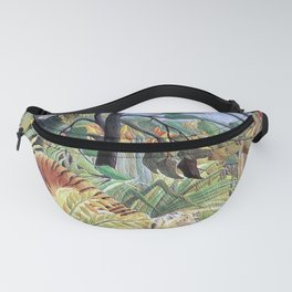 Tiger in a Tropical Storm (Surprised!) by Henri Rousseau 1891 // Jungle Rain Stormy Weather Scene Fanny Pack
