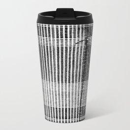 Stitched Plaid in Black and White Travel Mug