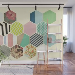 Florals and Stripes Wall Mural