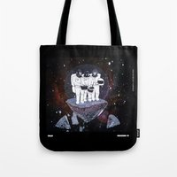 planet of the apes Tote Bags featuring Meteoric Apes by Tom Bryce