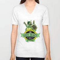 lotr V-neck T-shirts featuring LOTR - The Green Dragon Inn - Bywater by Immortalized