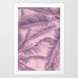 Tropical Palm Leaves Pink Summer Vibe Art Print