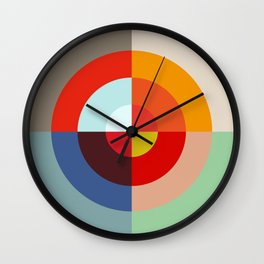 Spring - Colorful Classic Abstract Minimal Retro 70s Style Graphic Design Wall Clock