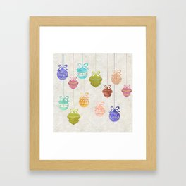 Colorful Watercolor Christmas Ornaments Framed Art Print