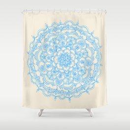 Pale Blue Pencil Pattern - hand drawn lace mandala Shower Curtain
