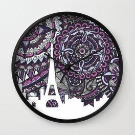 Paris Skyline, Paris Art Print, Paris Zentangle, Paris illustration, Home Decore, City silhouette Wall Clock
