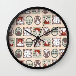 Playfull fox and bunny in frames Wall Clock