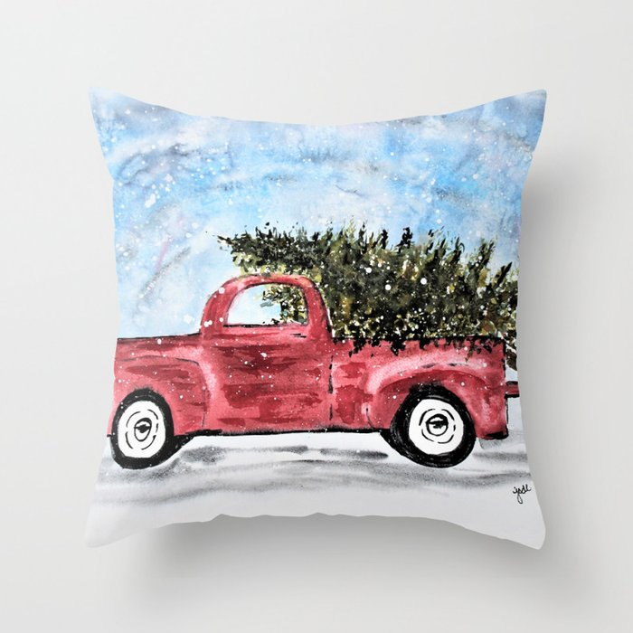 Red Christmas Truck.Vintage Red Christmas Truck With Tree Watercolor Throw Pillow By Jodimckinney