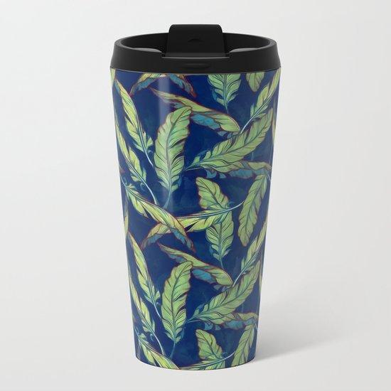 Tropical banana leaves III Metal Travel Mug