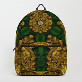 a golden place in the green ornate nature of our souls decorative Backpack
