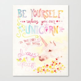 Unicorn Painting | Be Yourself Quote | Watercolor Wall Art Canvas Print
