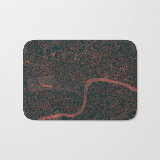 London Map Red Bath Mat