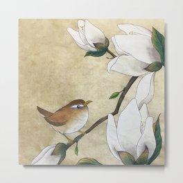 Minhwa: A Wren on the Magnolia(Korean traditional/folk art) Metal Print