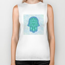 Hamsa for blessings, protection and strength - watercolor turquoise Biker Tank