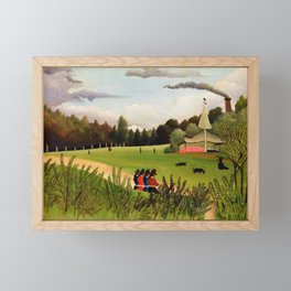 Henri Rousseau - Landscape and Four Young Girls - Digital Remastered Edition Framed Mini Art Print