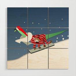 Dinosaur Snowboarding in Ugly Christmas Jumper Wood Wall Art