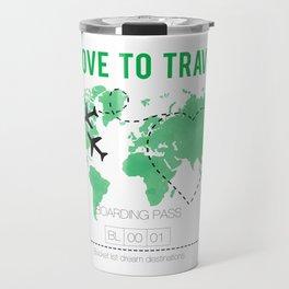 Boarding Pass - Travel Bucket List Watercolor World Travel Mug