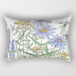 Asters and Wild Flowers Botanical Nature Floral Rectangular Pillow