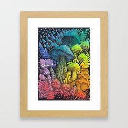 Rainbow Mushroom Composition #3   Watercolor Illustration Framed Art Print