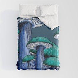 Magically Blue Mushrooms Duvet Cover