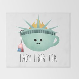 Lady Liber-tea Throw Blanket