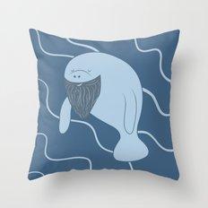 Silly Bearded Manatee Throw Pillow