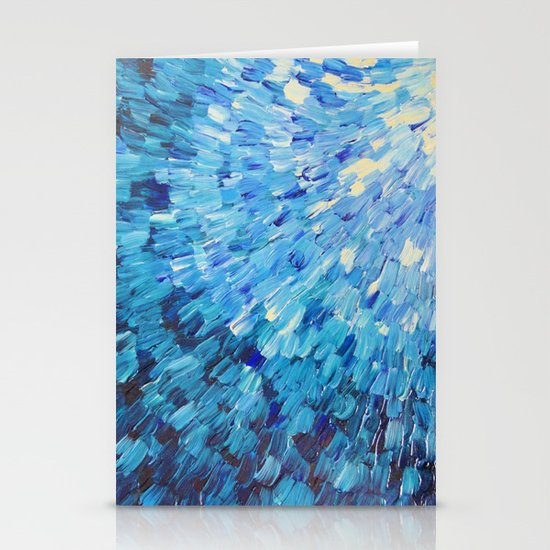 SEA SCALES IN INDIGO - Stunning Ocean Waves Mermaid Fish Navy Royal Blue Marine Abstract Painting Stationery Cards