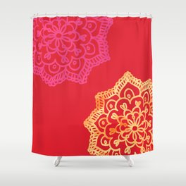 Happy bright lace flower - red Shower Curtain