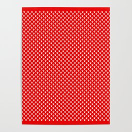 Tiny Paw Prints Pattern - Bright Red & White Poster