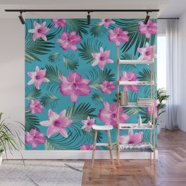 Tropical Flowers Palm Leaves Finesse #3 #tropical #decor #art #society6 Wall Mural