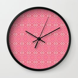 coral pink Moroccan Boho Ogee Wall Clock