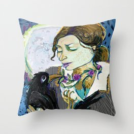 'Communication with the Raven' Throw Pillow