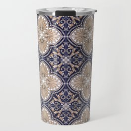 Portuguese Tiles Azulejos Blue and Brown Pattern Travel Mug