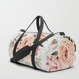 Muted Peonies and Poppies Duffle Bag