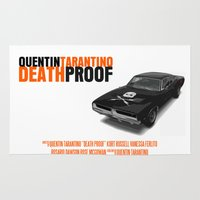 movie poster Area & Throw Rugs featuring Death Proof Movie Poster by FunnyFaceArt
