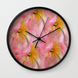 Fancy Painted Tulips Wall Clock