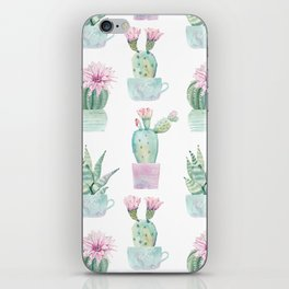 Simply Echeveria Cactus in Pastel Cactus Green and Pink iPhone Skin