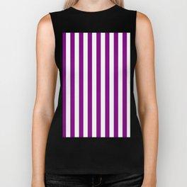 Narrow Vertical Stripes - White and Purple Violet Biker Tank
