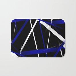 Seamless Royal Blue and White Stripes on A Black Background Bath Mat