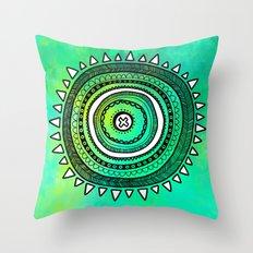 Emerald Mandala Throw Pillow