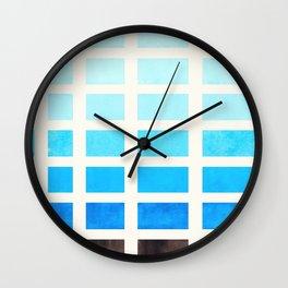 Watercolor Cerulean Blue Minimalist Mid Century Modern Square Matrix Geometric Pattern Round Circle Wall Clock