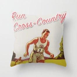 Run Cross-Country Vintage Art Print Throw Pillow