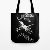 trex Tote Bags featuring Jurassic Bloom - Black version. by Sinpiggyhead