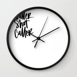 Baller, Shot Caller Hand Lettering Wall Clock