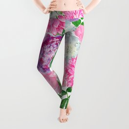 Pink bouquet of garden flowers Leggings